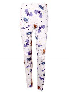 High Waist Bat Spider Print Halloween Leggings - Light Purple 2xl
