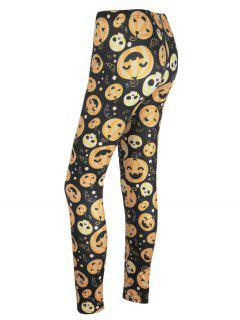 High Waisted Pumpkin Face Print Halloween Leggings - Black And Orange L
