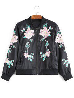 Zip Up Floral Embroidered Bomber Jacket - Black S