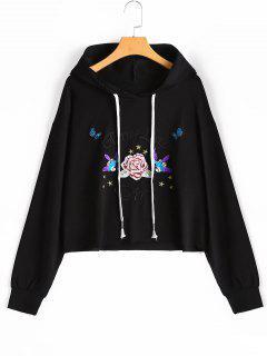 Drawstring Floral Patchwork Hoodie - Black M