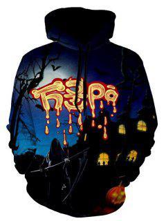 Ghost 3D Print Graphic Halloween Hoodie - 2xl