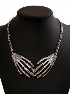 Halloween Punk Skeleton Hand Necklace - Silver