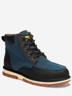 Moc Toe Color Block Ankle Boots - Blue 40