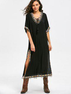 Lace Up Side Slit Tribal Pattern Vestido De Bohemia - Negro 2xl