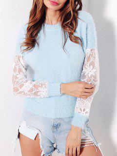 Mesh Insert Fuzzy Sweater - Light Blue