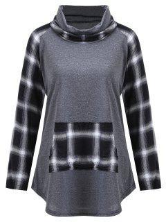 Camiseta De Cuello Alto Con Paneles A Cuadros Más Talla Grande - Gris 5xl