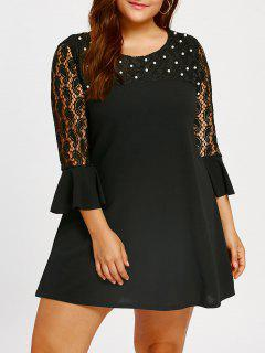 Beaded Lace Insert Plus Size Shift Dress - Black 5xl