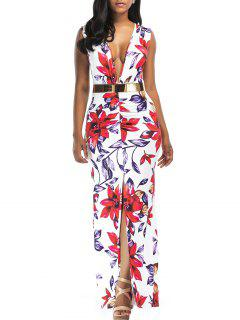 Floral Print Plunging Slit Belted Maxi Dress - Floral S