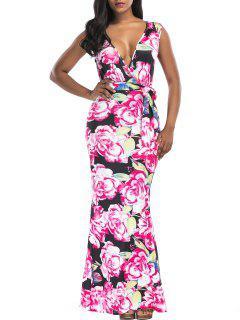 Floral Print Surplice Belted Maxi Dress - Floral L