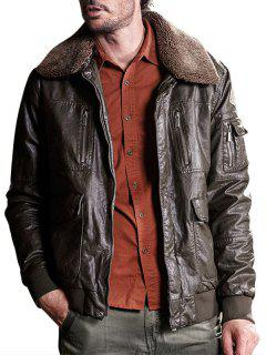 Borg Collar Multi Pockets Faux Leather Jacket - Deep Brown S