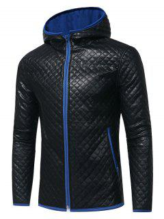 Color Block Hooded Rhombus Embossing PU Leather Jacket - Royal 2xl