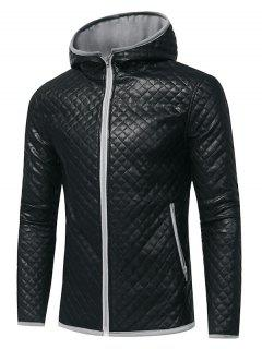 Color Block Hooded Rhombus Embossing PU Leather Jacket - Gray Xl
