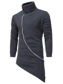 Turndown Collar Oblique Zip Up Asymmetrical Hoodie - Deep Gray Xl