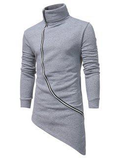 Turndown Collar Oblique Zip Up Asymmetrical Hoodie - Light Gray L