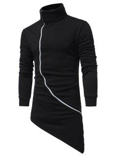 Turndown Collar Oblique Zip Up Asymmetrical Hoodie - Black Xl