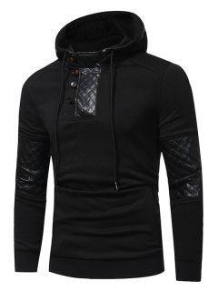Hooded PU Leather Panel Fleece Pullover Hoodie - Black 3xl
