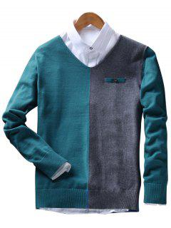 V Neck Faux Pocket Two Tone Sweater - Green Blue Xl