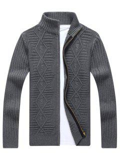 Stand Collar Cable Knit Cardigan - Gray L
