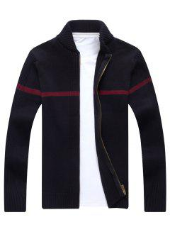 Single Stripe Ribbed Full Zip Cardigan - Black 3xl