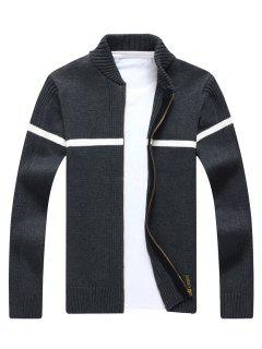 Single Stripe Ribbed Full Zip Cardigan - Gray L