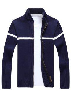 Single Stripe Ribbed Full Zip Cardigan - Cadetblue L