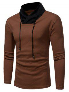 Shawl Collar Color Block Drawstring T-shirt - Camel L