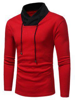 Shawl Collar Color Block Drawstring T-shirt - Red L