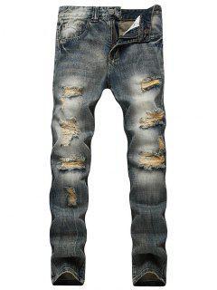 Faded Wash Slim Fit Beunruhigte Jeans - Blau 42