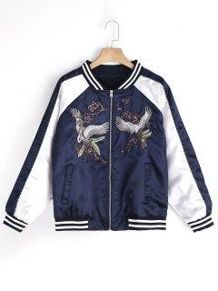 Floral Crane Embroidered Souvenir Jacket - Purplish Blue M