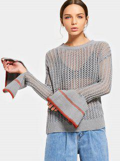 Contrasting Sheer Flare Sleeve Sweater - Gray