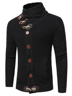 Cowl Neck Horn Button Single Breasted Cardigan - Black L