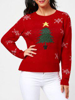 Tree And Snowflake Pattern Christmas Pullover Sweater - Red