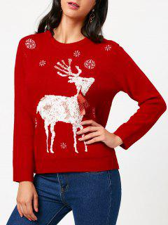 Christmas Elk Tied A Bow Tie Pattern Sweater - Red