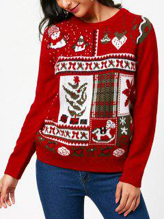 Christmas Pullover Sweater With Cartoon Ornamentation Pattern - Red