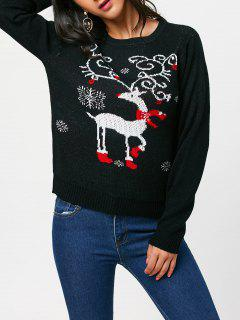 Pullover Sweater With Christmas Reindeer Pattern - Black