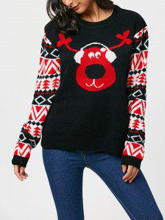 Reindeer Listen To Music Christmas Sweater - Black
