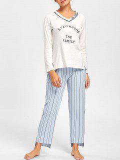 V Neck PJ Tee With Striped Pants - Light Gray 2xl