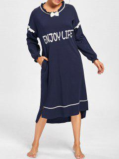 Frill Trim High Low Oversized Sleep Dress - Midnight 2xl