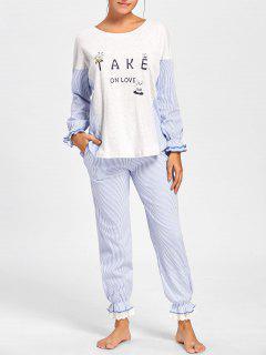 Camiseta Y Pantalón De Pijama De Rayas Con Detalles De Volantes - Raya 2xl