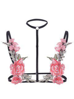 Flower Embroidered Choker Bralette - Pink S