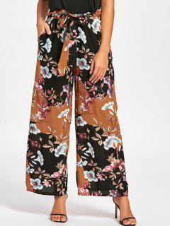 Elastic Waist Floral Wide Leg Pants - Floral M