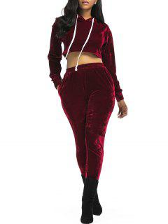 Terciopelo Recortada Con Capucha Y Pantalones  - Vino Rojo S