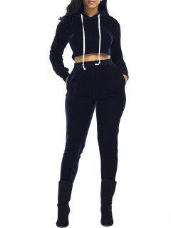 Velvet Cropped Hoodie And Pants Suit - Purplish Blue M