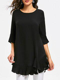 Pleated Flounce Panel Tunic Blouse - Black L