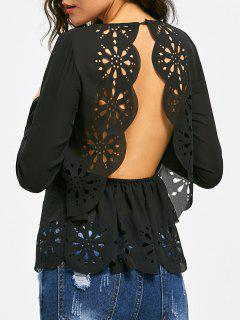 Backless Hollow Out Long Sleeve Scalloped Blouse - Black 2xl