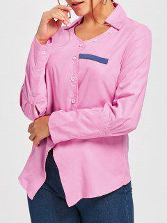 Turndown Collar Asymmetric Shirt - Pink L