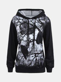 Halloween Hoodie With Dark Forest Skull Print - Black M