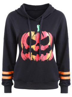 Drawstring Halloween Pumpkin Face Striped Hoodie - Black L