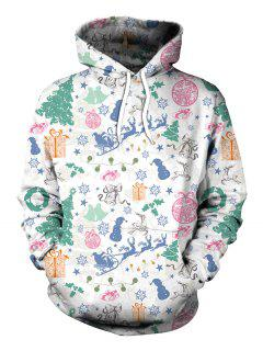 Santa Claus Snowflake Christmas Tree Party Hoodie - White L