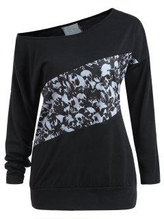 Halloween Skull Print Long Sleeve Top - Black M